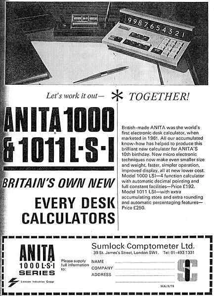 Advertisement for ANITA1011 LSI
