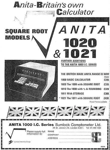Advertisement for ANITA 1020 & 1021